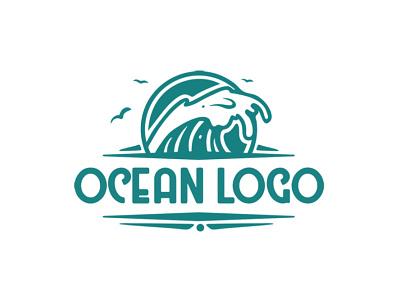 Ocean Logo travel summer awesome cool destination tourism sailing wave sea ocean branding logo design logo