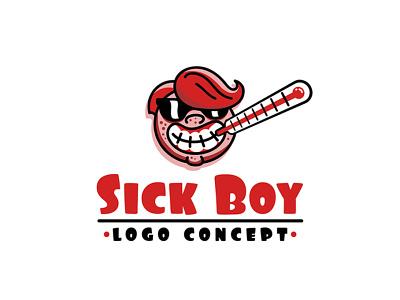 sick boy logo concept sick head face awesome cool humor joke funny boy mascot comic cartoon illustration branding logo design logo