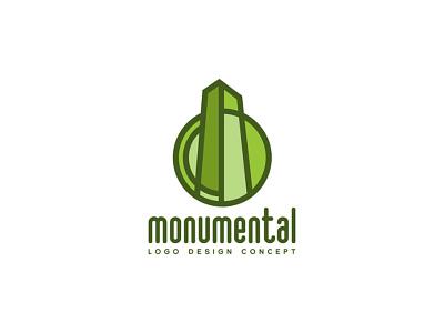 Monumental logo concept green awesome cool epic spire monument monlith identity branding stylized logo design logo