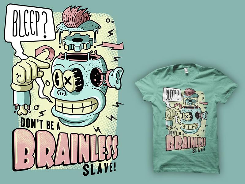 Brainless - t-shirt version smile smart punk lowbrow joke intelligent humoristic head grin funny freaky face crazy comic cogwheel clever cartoon brainwash brain alternative