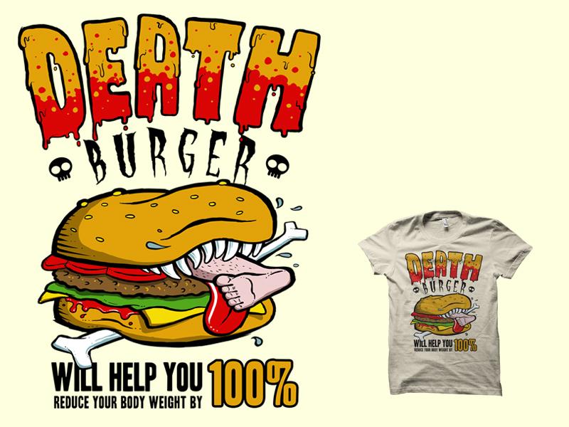 Deathburger awesome cool hamburger streetwear urban nutrition health death satire joke funny junk food t-shirt illustration design t-shirt tshirt