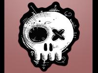 voodoo skull sticker