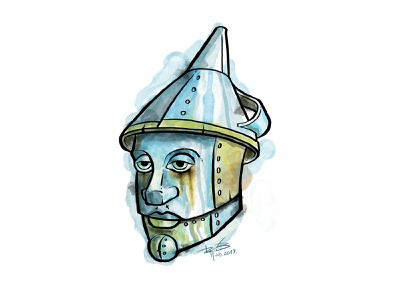 tin man awesome cool emotional sad fiction literature book yellow brick road dorothy illustration portrait watercolor character wizard of oz tin man