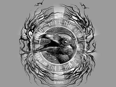 prophet nevermore illustration t shirt spooky ominous eerie creepy bird horror gothic poe crow raven