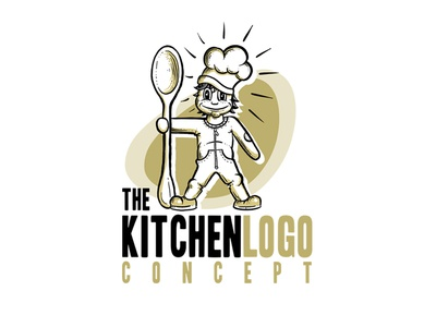 kitchen logo concept cute sweet child kid character mascot cartoon awesome cool illustration retro spoon chef nutrition food restaurant cuisine cooking cook kitchen