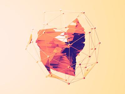 Speckle photoshop orange shapes atom array abstract cinema 4d