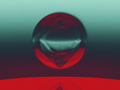 Outer reflection green red sphere muted abstract cinema 4d