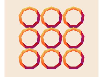 Nonagon shapes blue orange geometric gradient illustrator