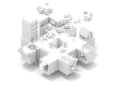 Hash Town Albino pixelart white city isometric magicavoxel voxel