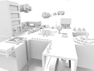Hash Town Views lotsofwhite white pixelart voxel magicavoxel isometric city