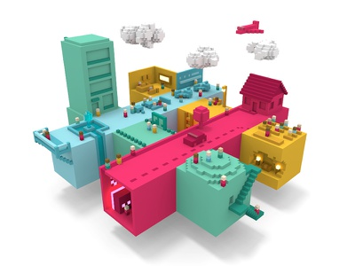 Hash Town in Living Color fanart logo enterprisegrid enterprise perspective slack voxel city pixelart magicavoxel
