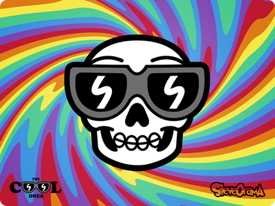 Cool Trippy Skull trippy halloween skull smile emoji face melt denver art creative original character cartoon character cartoon illustration series collection cool ones the cool ones