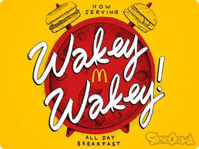 Daily Reminder lettering type slogan custom customtype handdrawn alarm time clock breakfast mcdonalds alldaybreakfast