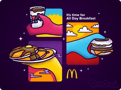 Pass The Breakfast colorful handdrawn hands time night day noon morning food breakfast mcdonalds alldaybreakfast