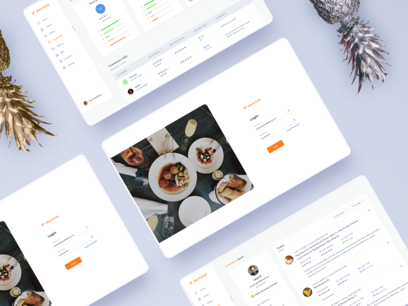 Delicious - the restaurant app design minimal clean adobe xd sketch login interaction ux ui user research list orders comments ratings feedbacks customers dashboard restaurant app