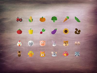 @2x Flat farming icons psd free freebie flat iconset layered