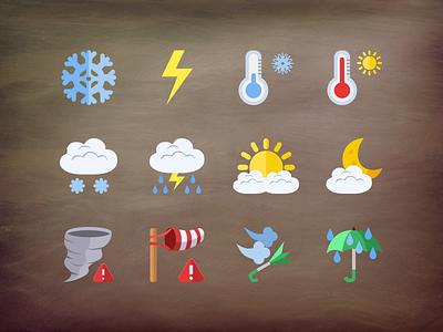 @2x Weather flat icons flat iconset freebie free psd layered