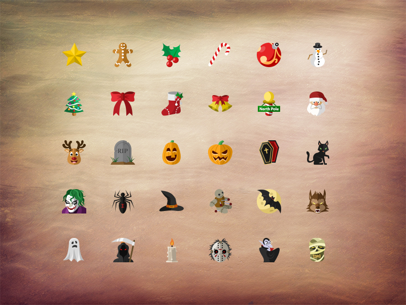 Christmas & Halloween icon pack flat iconset freebie free psd layered christmas halloween