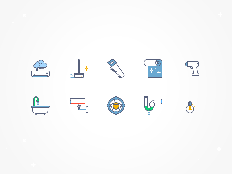 Service icons set epic icons epiccoders shower ac brush drill sewage service repair home