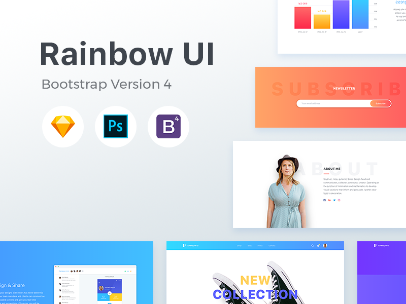 Rainbow UI kit with Bootstrap 4 theme by Epic Coders 🚀 on
