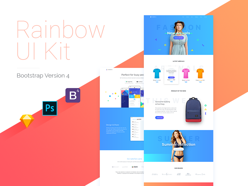Rainbow kit with Bootstrap 4 theme