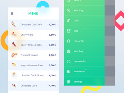 Restaurant menu (Shop UI)