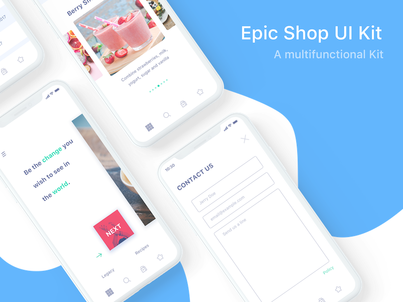 iPhone X Epic Shop UI contact white blue mockup apple iphonex download freebie free epicpxls ui kit shop
