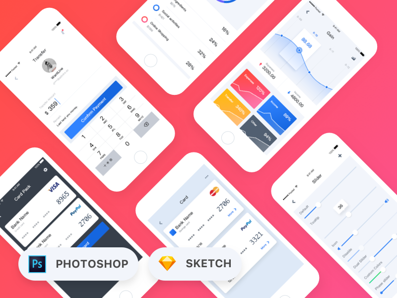 Pocket UI Kit sketch photoshop sliders paypal visa credit cards money charts fintech mobile app react-native pocket