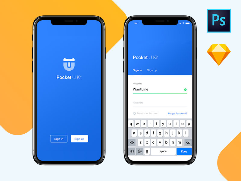 Pocket UI iPhone X react-native premium download sketch photoshop yellow blue signup login fintech wallet pocket