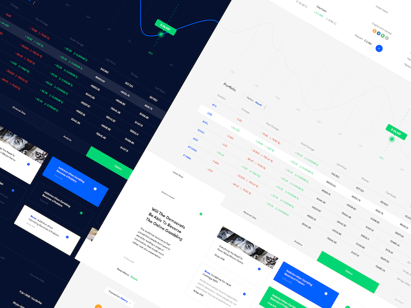 Finance dashboard ui download free investor chart news money portfolio etherium bitcoin crypto stocks finance