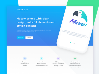 Macaw Ui Kit Preview free download android ios iphone stylish elements colorful design clean ui kit macaw