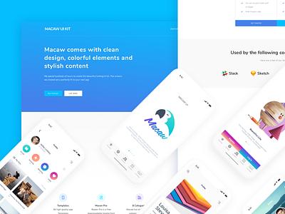Landing ui page design social float ios android free freebie ui kit macaw landing page design
