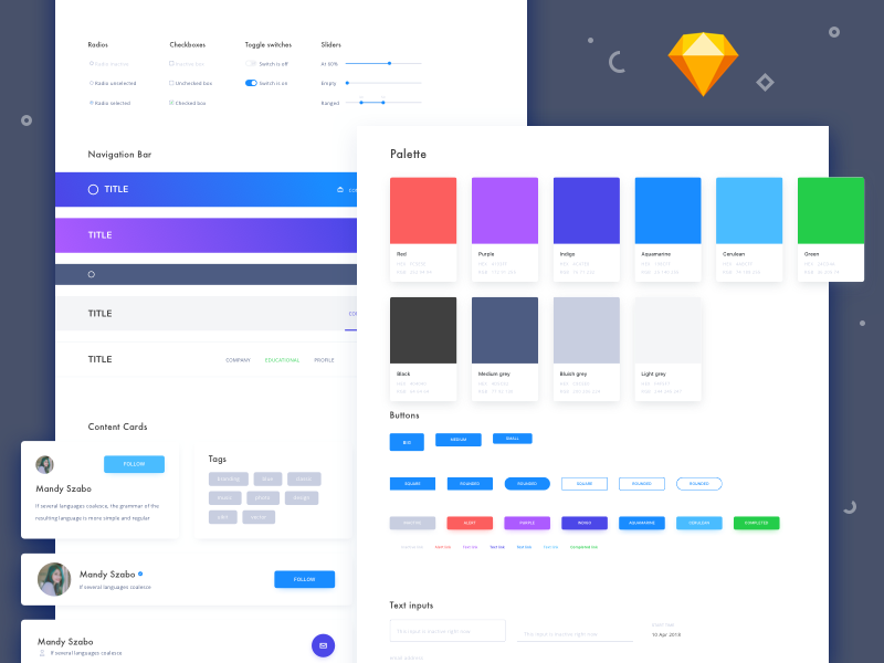 "Creative elements ""Sketch symbols"" kit forms icons modals colors download sample freebie symbols sketchapp ui kit elements creative"