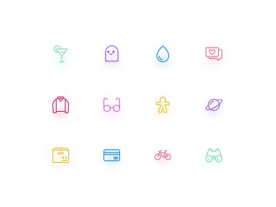 Pixel icons sample demo free freebie icons card glasses t-shirt heart glass rain ghost