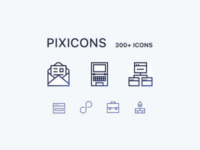 Over 300 icons set (pixicons) sample freebie download card briefcase network folders apple computer pixel pixi icons