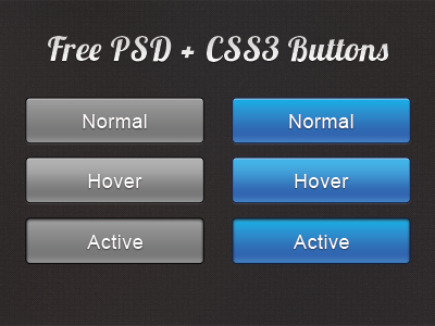 Dribbble Debut button free psd css css3 blue gray debut normal active hover states free psd