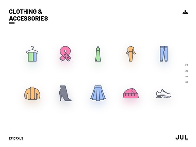 Clothing and Accessories Icons beanie ugly retro trainers sneakers chunky boot shoes heel mom jeans jeans pants skirt dress summer accessories clothes smooth icons design icons