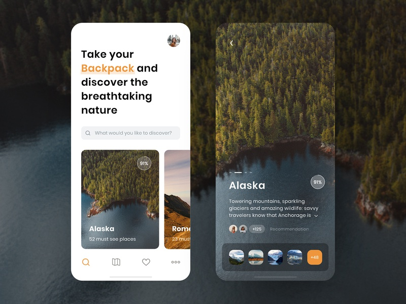 Backpacker - Travel App Concept exploration nature rating cards adventure orange branding iphone x trip planner trip typography photography detail travelling travel app travel social design app ui ux