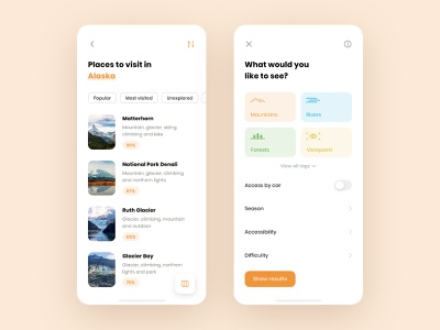 Backpacker - Travel App Concept II art typography tags floating button nature exploration filter iphone x design adventure ux ui branding colors flat icons trip travel app traveling travel