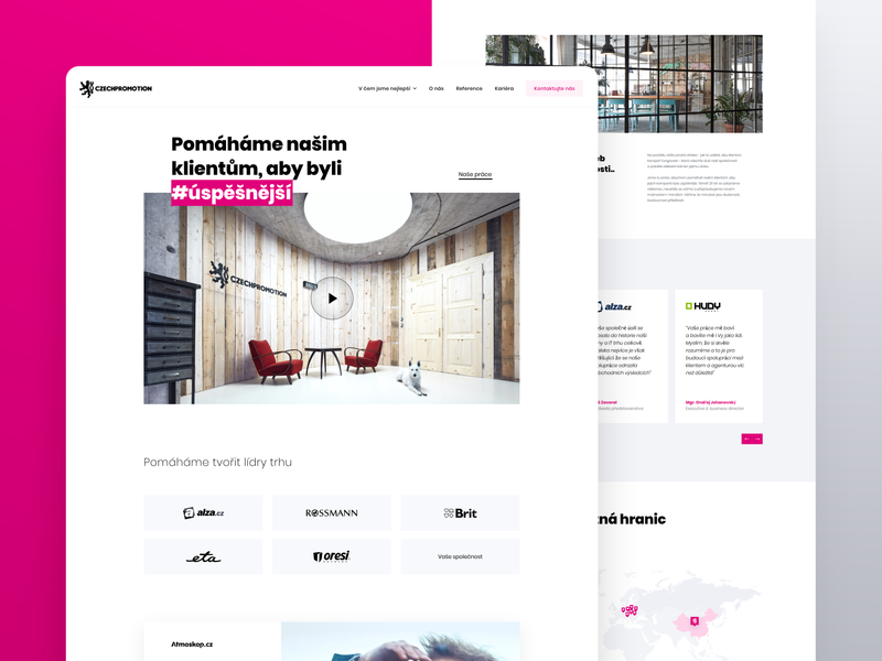 Czech Promotion – New Official Website 2020 trend simple design trendy design fresh homepage czechia landing page creative agency prague whitespace pink modern advertising webdesign website agency icons branding ui ux