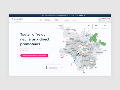 IMMO9 redesign 2020 landingpage map corporate immovable immobilier