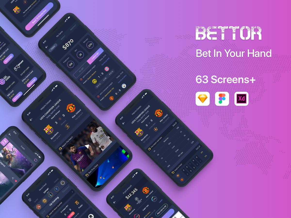Bettor UI KIT uidesign iphonex design template app mobile ux ui bettor lesscreate