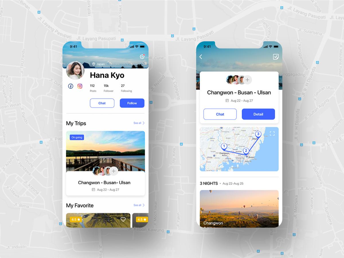 Le Trip - Travel planner UI KIT uikit travel app travel minimalist minimal iphone interface design graphic design booking app design app