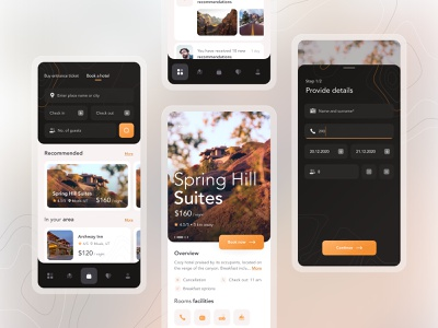 Pocket Guide to National Parks (hotel booking) - iOS 🌋 uiux mobile app hotel booking booking mobile design search mountains parks interface ios 10clouds ui ux app details map location canyon design branding