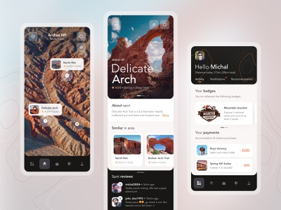 Pocket Guide to National Parks - iOS 🌋 design canyon location branding user design user experience ux ui 10clouds ios interface parks mountains mobile design map search mobile app uiux