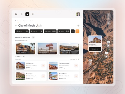 Pocket Guide to National Parks - iOS 🌋 ux ui gradient light hotel booking hotel app components booking search map web desktop user experience interface design app uiux 10clouds