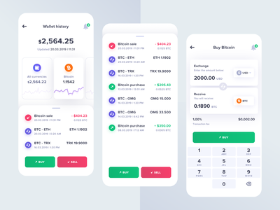 Cryptocurrency Wallet iOS App product design user interface user experience uiuxdesign uiux mobile app design mobile app mobile light ui ios interface graph cryptocurrency app cryptocurrency crypto chart bitcoin wallet bitcoin app 10clouds