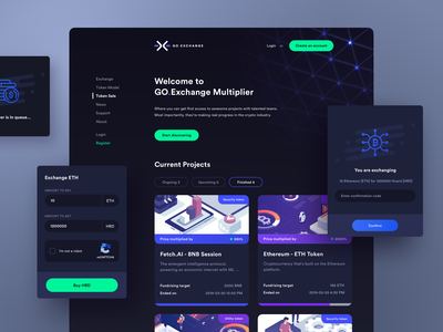 GO.Exchange - ICO Token Sale Portal 💸 user interface user experience product design bitcoin ethereum dark theme dark ui token token sale portal trading cryptocurrency investments cryptocurrency exchange cryptocurrency design uiux web design app 10clouds
