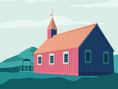 Icelandic church travel flat vector illustration design