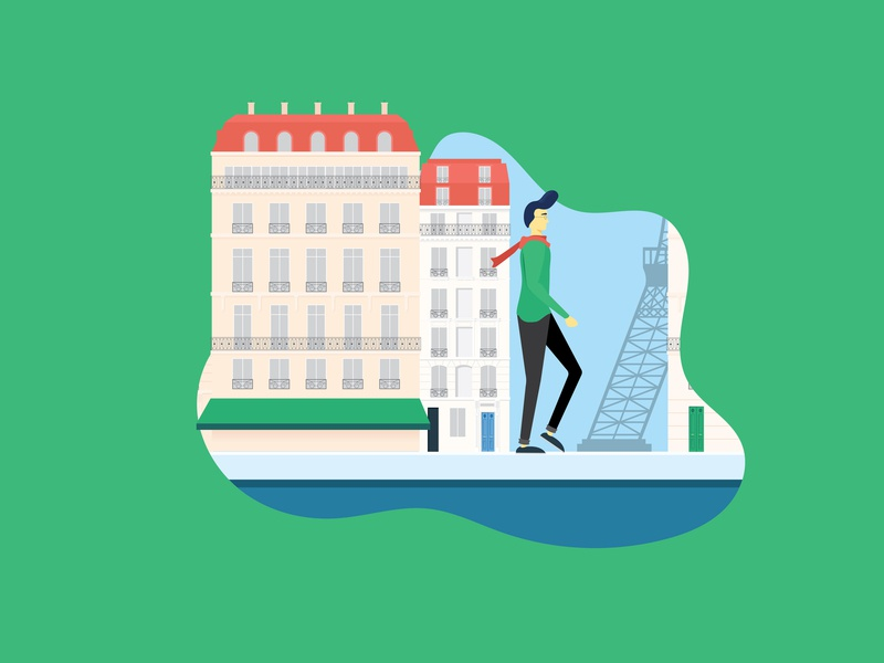The Traveler - Paris travel paris vector flat illustration design